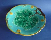 Fine Joseph Holdcroft Turquoise Majolica 'Grape Leaf & Vine' Comport c1870